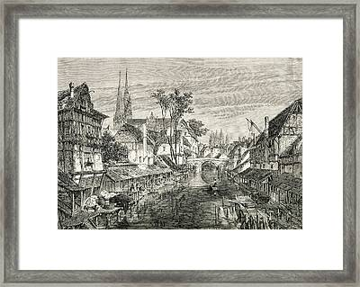 Chartres, France In The 19th Century Framed Print by Vintage Design Pics