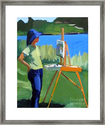 Charyl Painting At Pope John Paul II Park Framed Print by Deb Putnam