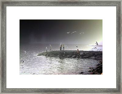 Chasing Seagulls In The Mist Framed Print by Paul Wash