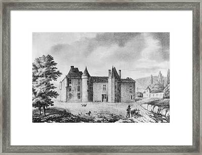 Chateau De Montaigne Framed Print by French School