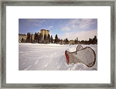 Chateau Lake Louise In Winter In Alberta Canada Framed Print by Mark Duffy