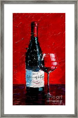 Still Life With Wine Bottle And Glass I Framed Print by Mona Edulesco