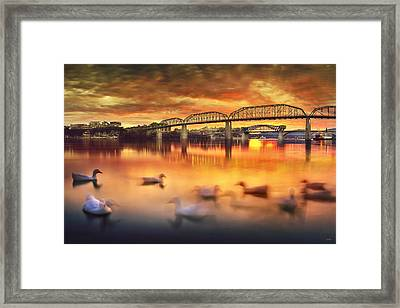 Chattanooga Sunset With Ducks Framed Print by Steven Llorca