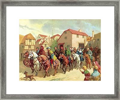 Chaucer's Pilgrims Framed Print by van der Syde
