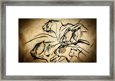 Chauvet Cave Lions Framed Print by Weston Westmoreland