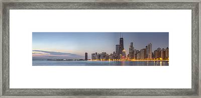 Chciago Skyline At Dusk Framed Print by Twenty Two North Photography