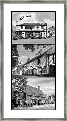 Cheers - Eat Drink And Be Merry - 3 Pubs Bw Framed Print by Gill Billington