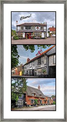 Cheers - Eat Drink And Be Merry - 3 Pubs Framed Print by Gill Billington