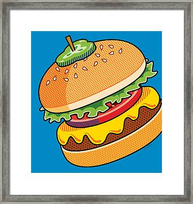 Cheeseburger On Blue Framed Print by Ron Magnes