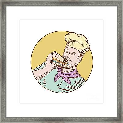 Chef Cook Eating Burger Etching  Framed Print by Aloysius Patrimonio