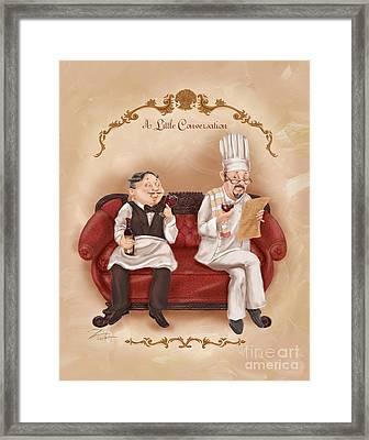 Chefs On A Break-a Little Conversation Framed Print by Shari Warren