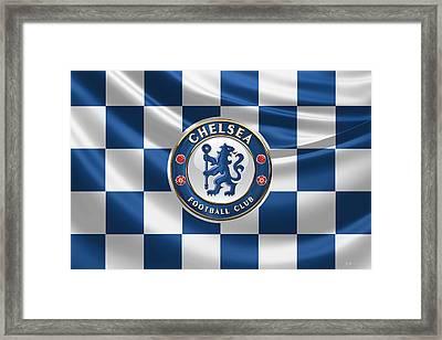 Chelsea F C - 3 D Badge Over Flag Framed Print by Serge Averbukh