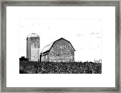 Chemung County Barn Sketch 01 Framed Print by Jim Dollar