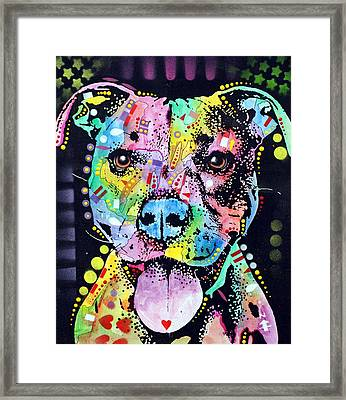 Cherish The Pitbull Framed Print by Dean Russo