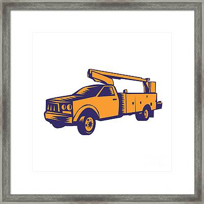 Cherry Picker Mobile Lift Truck Woodcut Framed Print by Aloysius Patrimonio
