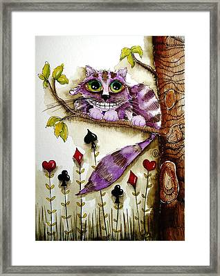 Cheshire Cat Framed Print by Lucia Stewart