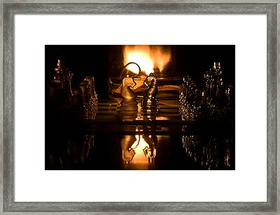 Chess Knights And Flame Framed Print by Lori Coleman
