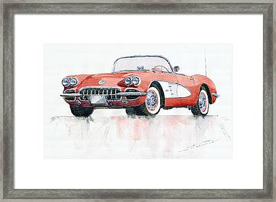 Chevrolet Corvette C1 1960  Framed Print by Yuriy  Shevchuk