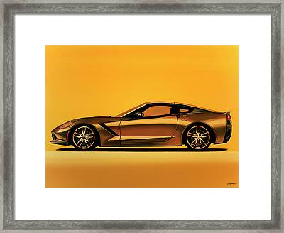 Chevrolet Corvette Stingray 2013 Painting Framed Print by Paul Meijering