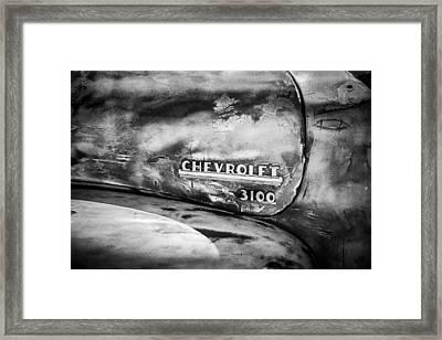 Chevrolet Truck Side Emblem -0842bw1 Framed Print by Jill Reger