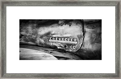 Chevrolet Truck Side Emblem -0842bw2 Framed Print by Jill Reger