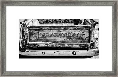 Chevrolet Truck Tail Gate Emblem -0839bw Framed Print by Jill Reger