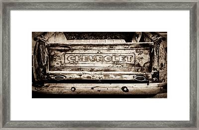 Chevrolet Truck Tail Gate Emblem -0839s Framed Print by Jill Reger