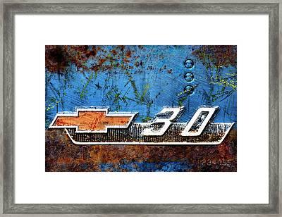 Chevy 3.0 Photomontage Framed Print by Carol Leigh