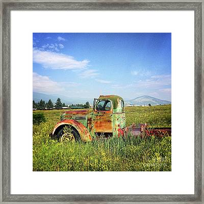 Chevy In A Field Framed Print by Terry Rowe