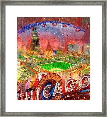 Chicago And Wrigley Field Framed Print by John Farr