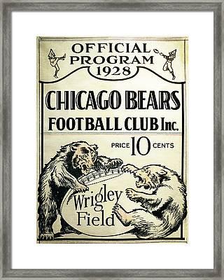 Chicago Bears Football Club Program Cover 1928 Framed Print by Daniel Hagerman