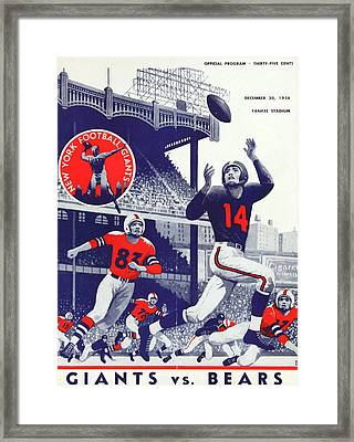 Chicago Bears Vintage Program Framed Print by Joe Hamilton