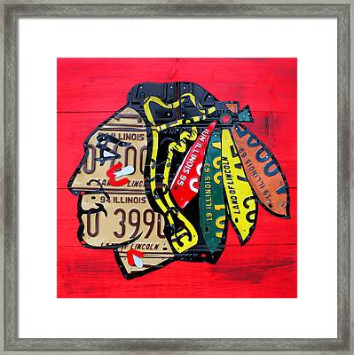Chicago Blackhawks Hockey Team Vintage Logo Made From Old Recycled Illinois License Plates Red Framed Print by Design Turnpike
