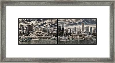 Chicago Buckingham Fountain Summer Storm Passing Multi Panel Framed Print by Thomas Woolworth