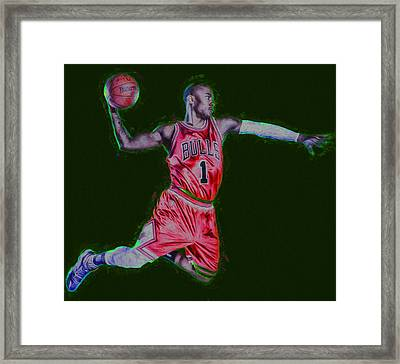 Chicago Bulls Derrick Rose Painted Digitally Red Framed Print by David Haskett