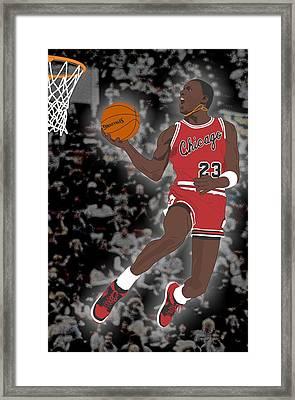 Chicago Bulls - Michael Jordan - 1985 Framed Print by Troy Arthur Graphics