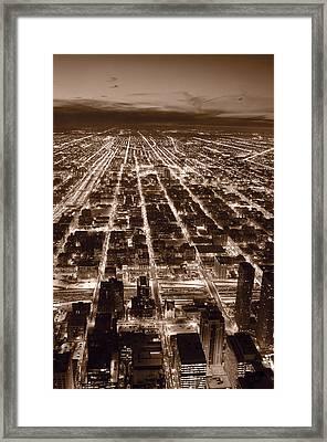 Chicago City Lights West B W Framed Print by Steve Gadomski