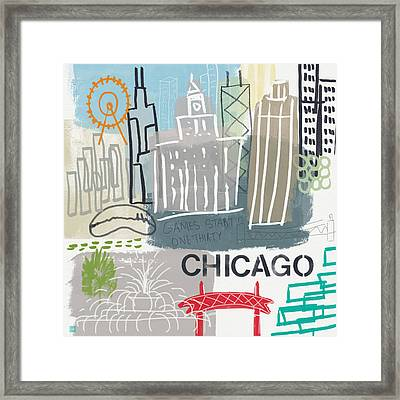 Chicago Cityscape- Art By Linda Woods Framed Print by Linda Woods