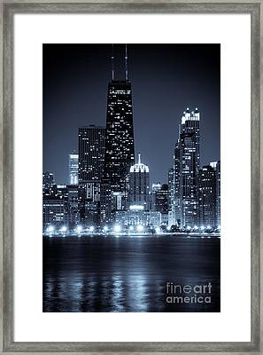 Chicago Cityscape At Night Framed Print by Paul Velgos