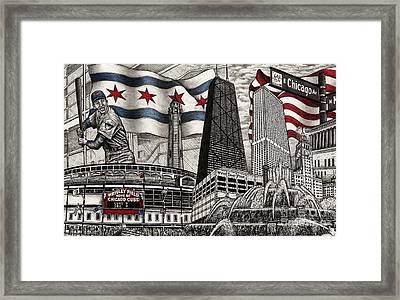 Chicago Cubs, Ernie Banks, Wrigley Field Framed Print by Omoro Rahim