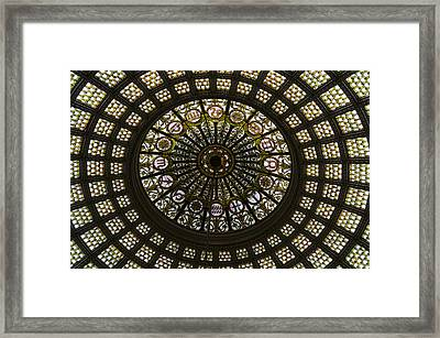 Chicago Cultural Center Tiffany Dome 03 Framed Print by Thomas Woolworth