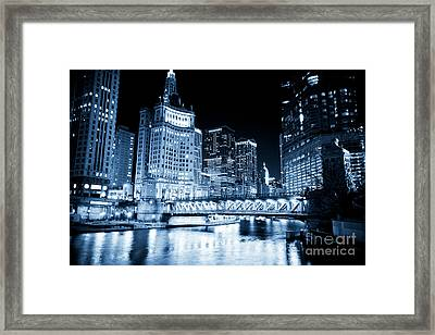 Chicago Downtown Loop At Night Framed Print by Paul Velgos