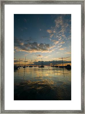 Chicago Harbor Sunrise Framed Print by Steve Gadomski