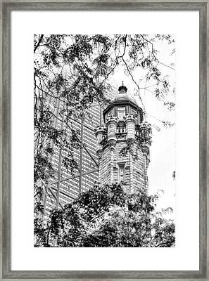 Chicago Historic Water Tower Fog Black And White Framed Print by Christopher Arndt