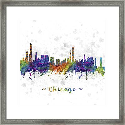 Chicago Illinois Skyline Color 03sq Framed Print by Aged Pixel