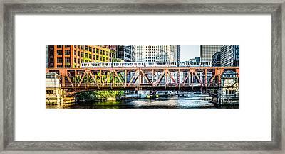 Chicago Lake Street Bridge L Train Panorama Framed Print by Paul Velgos