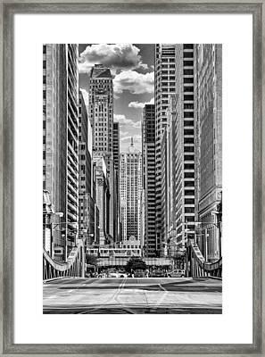 Chicago Lasalle Street Black And White Framed Print by Christopher Arndt