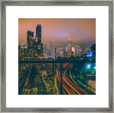 Chicago Night Skyline  Framed Print by Cory Dewald