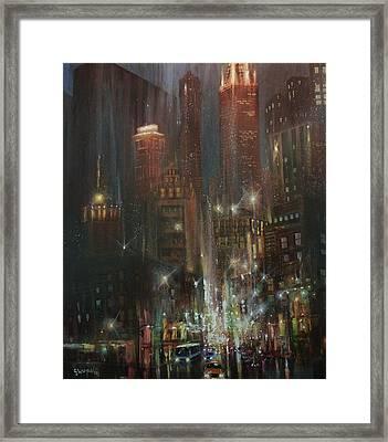Chicago Night Framed Print by Tom Shropshire
