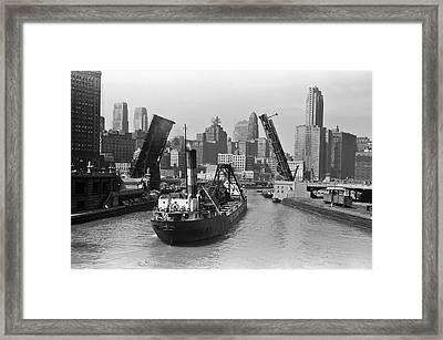 Chicago River 1941 Framed Print by Daniel Hagerman